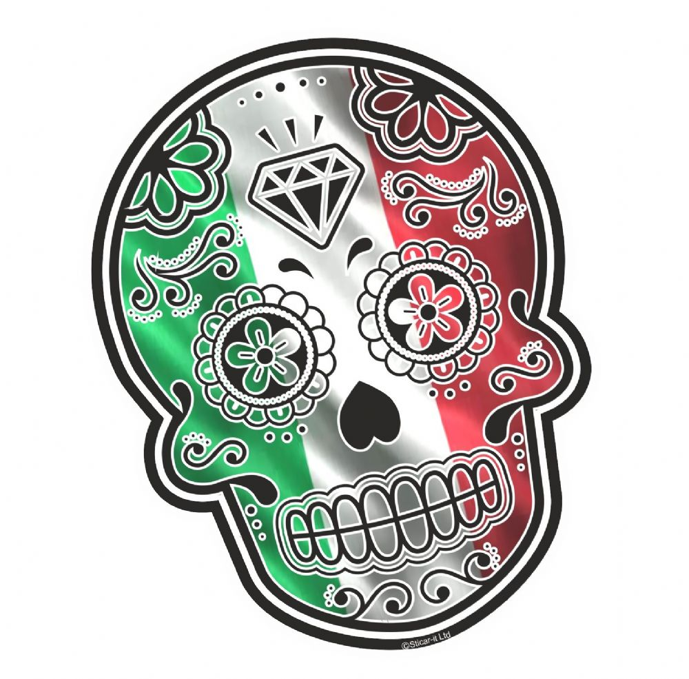 Mexican Day Of The Dead Sugar Skull With Italy Italian Il